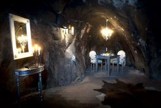 Sala Silver Mine Hotel in Sala, Sweden. This hotel has only one room - The Mine Suite - situated in what used to be an operating silver mine. Underground Hotel, Underground Living, Unusual Hotels, Cave Hotel, Bizarre, Hotel Suites, Futurism, Best Hotels, Amazing Hotels