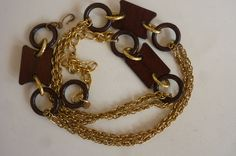 Mod Chain Belt 70's Gold Tone Metal With Wood Spacers Size OSFM by ZoomVintage on Etsy