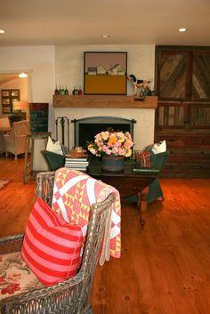 The Polished Pebble: Arranging Roses Quilt Display, Polished Pebble, Wood Doors, The Fresh, Hearth, Mantle, Home And Garden, Roses, Cottage Ideas