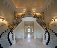 Classical Grand Foyer Double Staircase for a Mediterranean Villa - traditional - staircase - orlando - John Henry Architect Luxury Homes Interior, Home Interior Design, French Interior, Interior Designing, Plantation Style Homes, Double Staircase, Grand Staircase, Spiral Staircases, Traditional Staircase