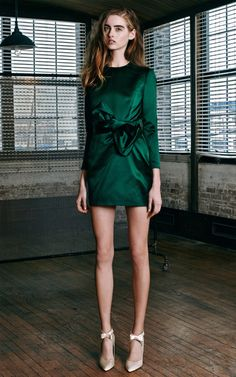 Katie Ermilio Fall/Winter 2014 Bow Wrap Long Sleeve Mini Dress