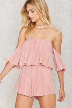 Take it Off-Shoulder Ruffled Romper - Rompers + Jumpsuits