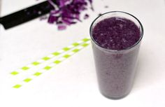 Purple Detox Smoothie Recipe Beverages with non dairy milk, red cabbage, bananas, blueberries, kale leaves