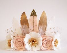 Rose Ombre Rose Feather Couronne  Couronne pleine par kireihandmade