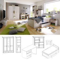 schlafzimmer set luca pinie weiß 3tlg. bett 100x200 cm online ... - Schlafzimmer Sets Günstig