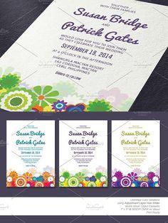 Floral Wedding Invitation. Invitation Templates. $5.00
