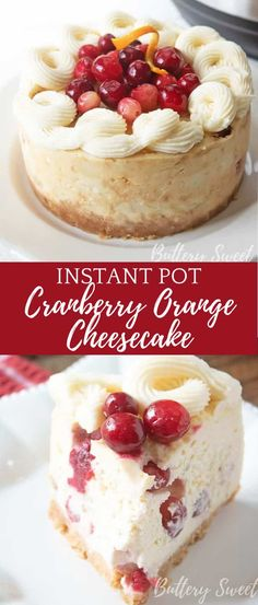 This festive Instant Pot Cranberry Orange Cheesecake is the perfect dessert for fall and the upcoming holidays! This creamy cheesecake is filled with tangy cranberries and citrus orange flavors on top of a sweet and salty crust.