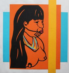 Coloured paper cut out of Embera Indigenous Woman