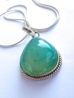 Chalcedony Pendant, Gemstone Necklace, Sterling Silver Chain, OOAK, Limited Edition