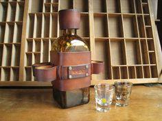 whiskey bottle holster with shot glass holder
