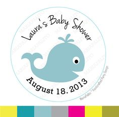 Baby Whale Stickers,  Baby Shower stickers, Whale Baby Shower or Birthday PRINTED round Stickers, tags, Labels or Envelope Seals  A809 by Mariapalito on Etsy https://www.etsy.com/listing/160125901/baby-whale-stickers-baby-shower-stickers