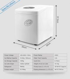 White 3.2L Home Ice Maker