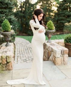 1220c4c03c1 Cream Jersey Long Sleeves Slim fit Maternity Gown Maternity White Lace Maternity  Dress