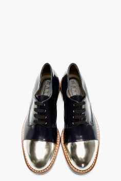 MARNI EDITION Navy & Silver Leather capped Derbys