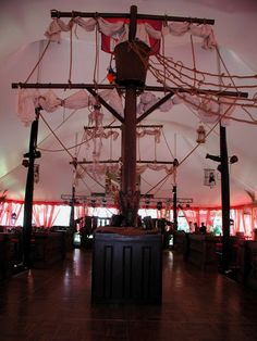 A similar structure in size to this, but less like a pirate ship and more like a ship out to sea Pirate Party Costume, Pirate Halloween Party, Pirate Birthday, Pirate Theme, Bar Mitzvah Themes, Beyond Wonderland, Pirate Wedding, Tent Set Up, Ocean Party