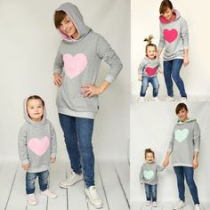 Fashion Family Matching Spring Autumn Hoodies Mother Daughter Sweatshirt Cotton Mom and Daughter Clothes Family Matching Outfits Mother Daughter Fashion, Mom Daughter, Matching Hoodies, Matching Family Outfits, Matching Clothes, Winter Hoodies, Sweatshirt Dress, Fendi, Dress Tops