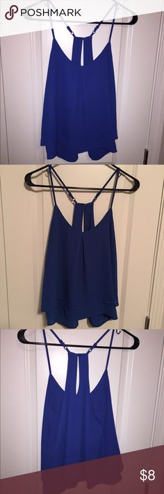 Royal Blue Flowy Tank Never worn. Size S. Polyester. Pics with/without flash to show color. Has cute back and adjustable straps Tops Tank Tops