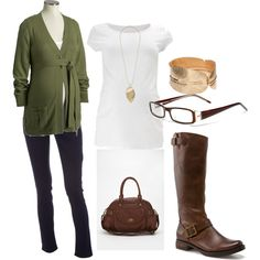Maternity  Green cardi, skinnies and boots