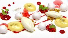 Mini pavlova lemon posset balsamic strawberries and basil sherbet