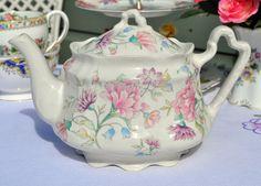 https://flic.kr/p/c3M5fL | Arthur Wood Pink Floral Teapot | Pretty pastels vintage teapot. cakestandheaven.com