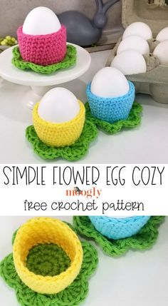 Simple Flower Egg Cozy - Free Crochet Pattern on Moogly The Simple Flower Egg Cozy is pretty, quick, and festive! With just a few yards of yarn, crochet this fun free crochet pattern in a garden of colors! Easter Crochet Patterns, Crochet Motif, Crochet Designs, Free Crochet, Knitting Patterns, Green Craft, Crochet Abbreviations, Red Heart Yarn, Simple Flowers