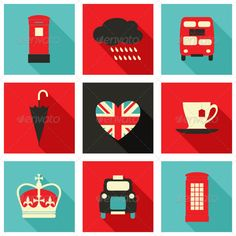 London Icons Collection — Transparent PNG #cloud #union jack • Available here → https://graphicriver.net/item/london-icons-collection/6091638?ref=pxcr