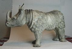 Rhino in clay. Built at a workshop of animals in clay held by Andreas Hinder