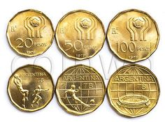 Argentina 1978 20 and 100 Pesos  World Soccer Championship 2 Coin Set UNC