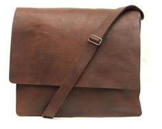 Messenger bag Unisex Brown Leather bag hand made. $69.99, via Etsy.