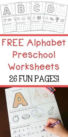 FREE Alphabet Preschool Printable Worksheets To Learn The Alphabet - - Free Alphabet Preschool Worksheets printable! Fun way for your children to learn the alphabet letters. Each page includes fun alphabet activities! Printable Preschool Worksheets, Preschool Learning Activities, Free Preschool, Abc Worksheets, Free Alphabet Printables, Home School Preschool, Kindergarten Alphabet Worksheets, Preschool Projects, Preschool Homework