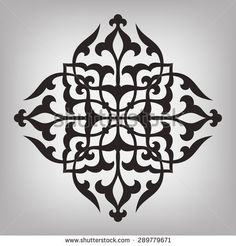 Four pointed circular pattern. Mandala. Round linear vector ornament on gray background.