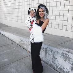 Cruella and my Dalmatian ⚫️⚪️⚫️ His black nose didn't last long  #alloverhisface #happyhalloween #101dalmations