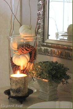 White Pumpkins & Pine cones #chiocs