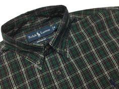 RALPH LAUREN Men's M Custom Fit Green Blue Red Yellow Plaid L/S Button-Down Shirt | Men's Casual Outfit | Fall/Winter Look | Shop Menswear at designerclothingfans.com