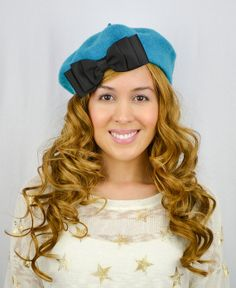 Turquoise Blue French Beret Hat Grosgrain Bow Blue by LoveJubilee, $20.00#hats #hat #pretty #cute #paris #french #fashion #style #vintage #romantic #beret #bows