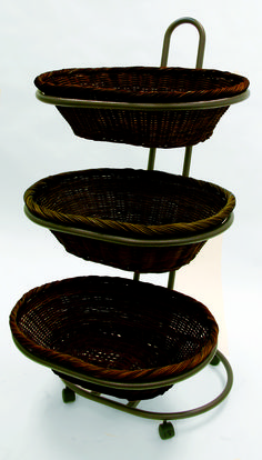 Willow basket merchandiser features an attractive antique bronze finish and stylish, 3 durable willow baskets merchandiser display in a three tier design. Perfect for baked goods, fruits and vegetables or bulk sale items, so many uses!
