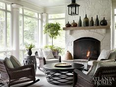 Love this raised hearth fireplace.