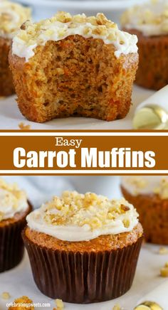These tender and moist Carrot Muffins are the perfect way to start the day. Top them with cream cheese frosting or enjoy them plain either way theyre delicious! Homemade Desserts, No Bake Desserts, Delicious Desserts, Dessert Recipes, Yummy Food, Tasty, Pastry Recipes, Baking Recipes, Cookie Recipes