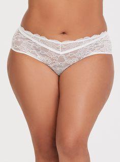 c03d41af165d9 White Sheer Lace Hipster Panty. Plus Size ...