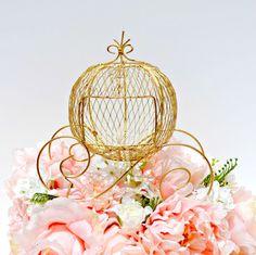 Wire Cinderella Coach,Gold Cinderella Carriage Wedding Centerpiece, Cinderella Pumpkin Centerpiece, Fairytale Wedding, Sweet 16 Centerpiece by MoreFriendsAndCo on Etsy https://www.etsy.com/listing/267377606/wire-cinderella-coachgold-cinderella