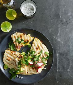 Australian Gourmet Traveller recipe for quesadillas with cheese and chorizo. Home Recipes, Healthy Dinner Recipes, Gourmet Recipes, Mexican Food Recipes, Ethnic Recipes, Healthy Food, Chorizo Recipes, Cheese Recipes, Quesadillas