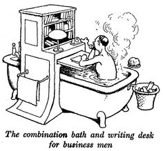 The combination bath and writing desk from 'How to Live in a Flat' - now published by www.wordstothewise.co.uk