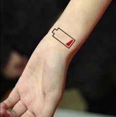 Waterproof Temporary Tattoo - Low battery - as seen on Etsy store 'TTTattoo'