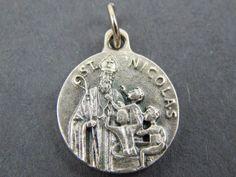 Vintage French Saint Nicholas of Myra Catholic Medal   Orthodox, Christian Saints