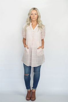 Grid Pattern Tunic Dress