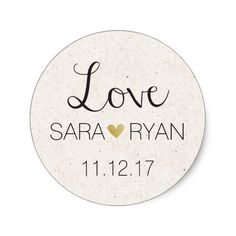 """Personalized """"Love"""" Stickers- Wedding Favors Round Sticker. Click through to find matching games, favors, thank you cards, inserts, decor, and more. Or shop our 1000+ designs for all of life's journeys. Weddings, birthdays, new babies, anniversaries, and more. Only at Aesthetic Journeys"""