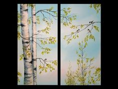 Painting Birch Trees - 'Feathered Friends' - Acrylic Demonstration Part 1 - YouTube