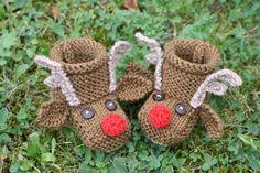KNITTING PDF PATTERN  Reindeer Baby Booties by SleakeKnits on Etsy