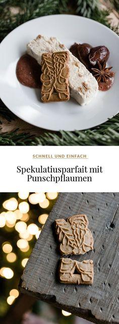 Einfaches Spekulatiusparfait mit Punschpflaumen #weihnachten #dessert #weihnachtsdessert #parfait #spekulatius #spekulatiusdessert