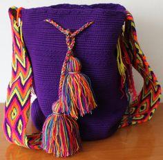 Purple Wayuu Bag Tassel Necklace, Backpacks, Wool, Purple, Bags, Fashion, Totes, Handbags, Moda